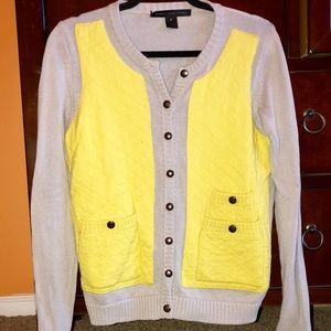 Marc Jacobs Grey & Yellow Colorblock Cardigan | M